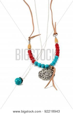 Necklace Handmade With Red And Blue Beads
