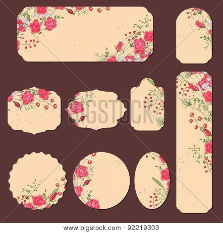 Collection with different paper labels for wedding announcements. Round,square,rectangular, different shapes. Red and pink flowers and berries. Roses and herbs.