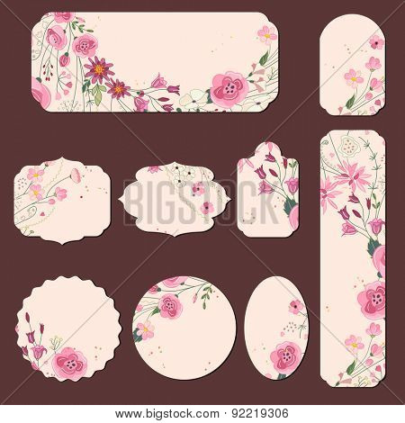 Collection with different paper labels for wedding announcements. Round,square,rectangular, different shapes. Red and pink flowers. Roses and herbs.