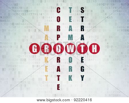 Business concept: word Growth in solving Crossword Puzzle