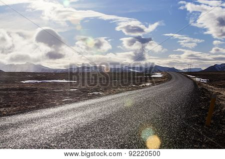 Snowy Volcano Landscape With Dramatic Clouds In Iceland