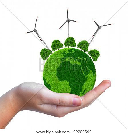 Green planet with trees and wind turbines in hand isolated on white background