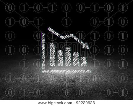 Business concept: Decline Graph in grunge dark room