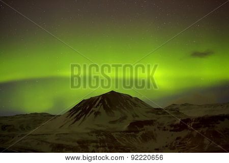 Northern Lights With Snowy Mountains In The Foreground