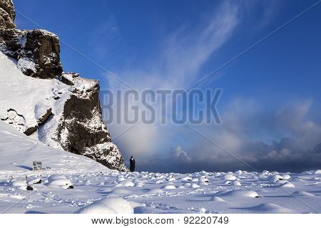 Snowy Mountain Landscape In Reynisfjara, South Iceland