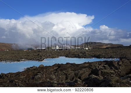 Geothermal Bath Blue Lagoon In Iceland