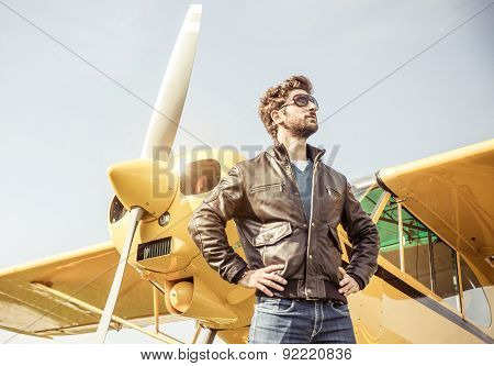 Aviator Posing Before Flight