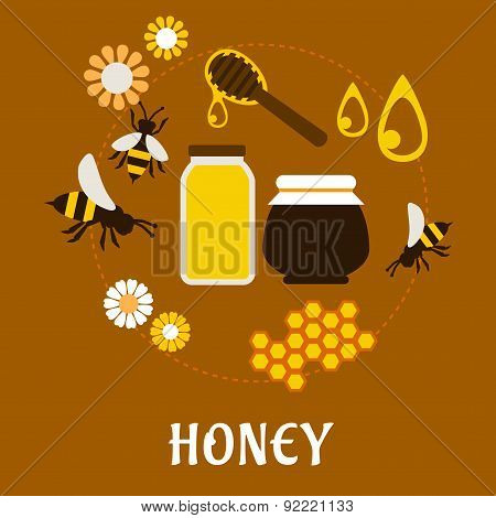 Beekeeping and fresh Honey flat concept