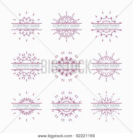Simple pink geometric abstract symmetric shapes set. Modern business icon collection. Logo template.