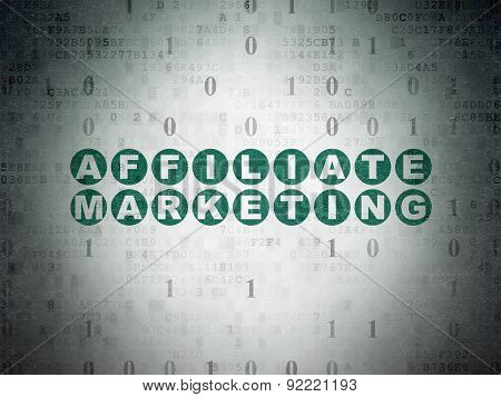 Finance concept: Affiliate Marketing on Digital Paper background