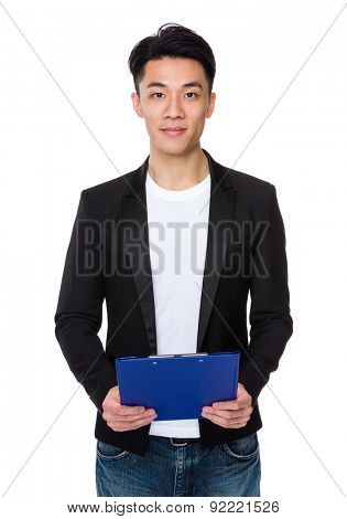 Asian man hold with file pad