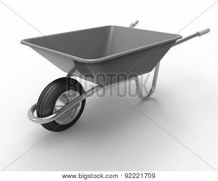 Wheel Barrow Isolated On A White Back Ground