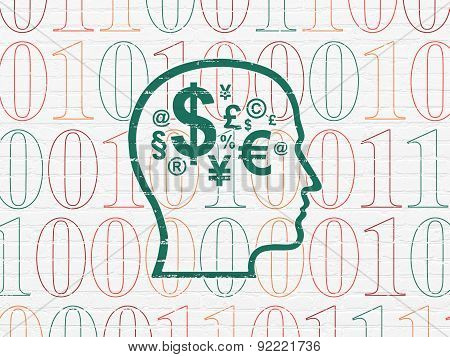Business concept: Head With Finance Symbol on wall background