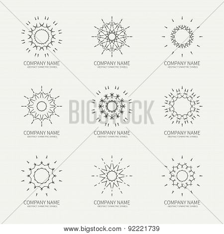 Simple monochrome geometric abstract symmetric shapes set. Modern business icon collection. Logo tem