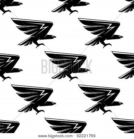 Seamless pattern with black hawks birds