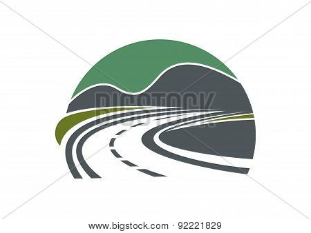 Highway or road disappearing near mountains