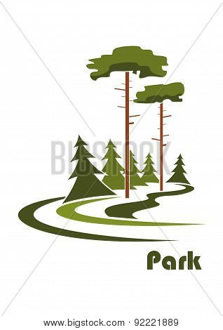 Park logo with pines ans spruces