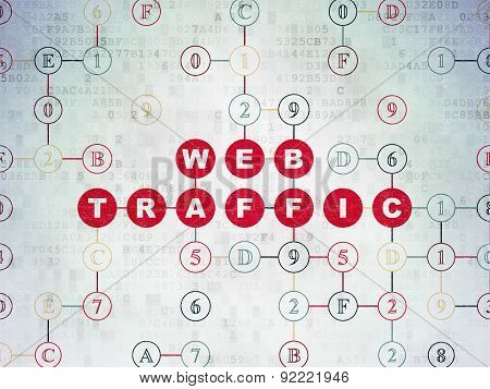 Web development concept: Web Traffic on Digital Paper background