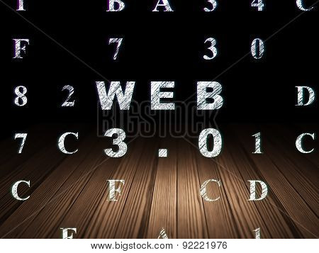 Web development concept: Web 3.0 in grunge dark room