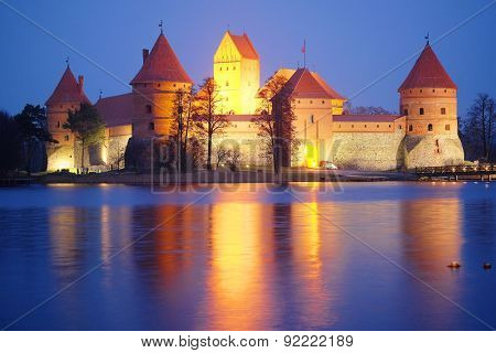 Lithuania, Trakai - November 17, 2014: Trakai Castle at night - Island castle in Trakai is a museum and a cultural center.