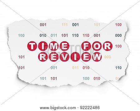 Time concept: Time for Review on Torn Paper background