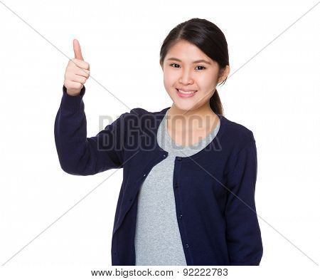 Asian young woman with thumb up