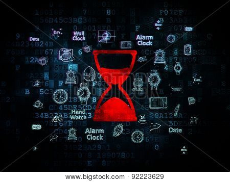Time concept: Hourglass on Digital background