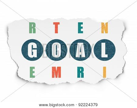 Marketing concept: word Goal in solving Crossword Puzzle