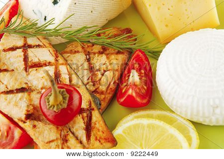 Roast Salmon And Soft Cheeses