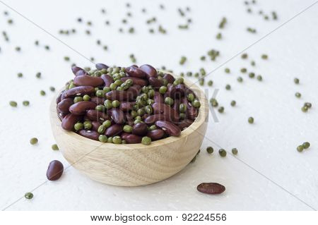 Bean Nut Decoration Green Red Spoon Bowl Prepare Concept