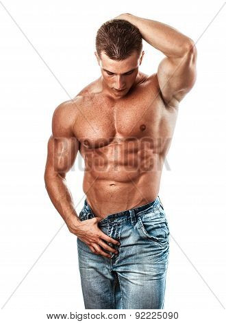 Muscular Handsome Sexy Guy Posing, Isolated On White