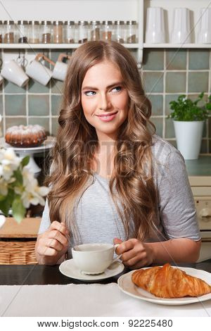 Beautiful Woman Having Breakfast