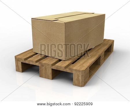 Pallet Isolated On White  With Carton Boxes