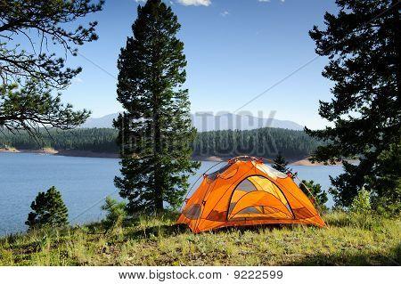 Camping Tent at Lake