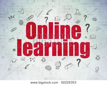 Learning concept: Online Learning on Digital Paper background