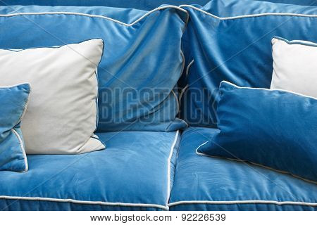 Sofa Detail In Blue Tone With Cushions