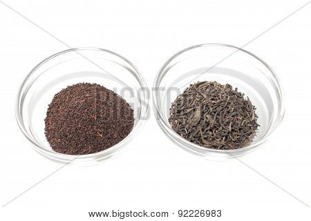Green and black Ceylon tea