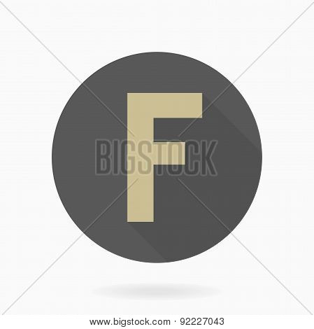 Fine Vector Flat Icon With Letter F