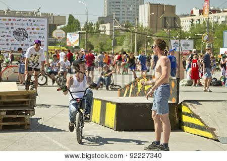 Bmx Cyclists Preparing For Competitions