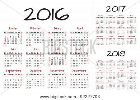 French 2016 2017 and 2018 year vector calendar red and black