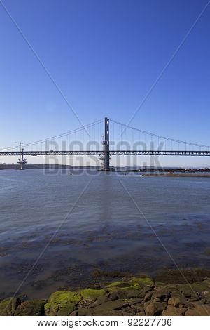 Forth Road Bridge From South Queensferry, Scotland