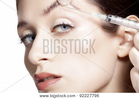 Closeup Of Beautiful Woman Gets Skin Correction Injection