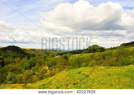 Small Settlement In Rural Area In Highlands Of Scotland, Uk. Beautiful Cloudy Sky