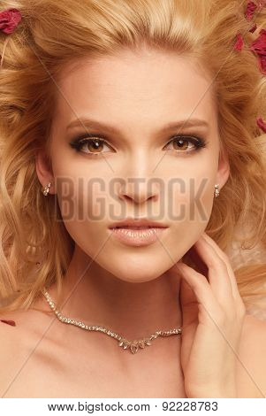 Close up shot of blonde gorgeous woman