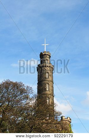 Nelson Monument In Calton Hill In Edinburgh, Scotland