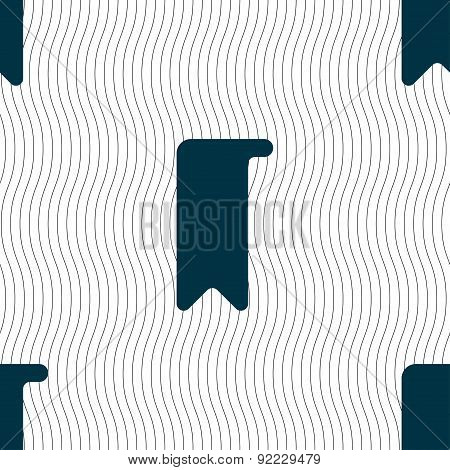 Bookmark Icon Sign. Seamless Pattern With Geometric Texture. Vector