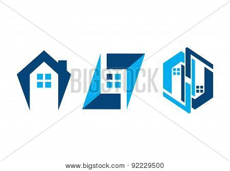 real estate logo,home construction, house building set symbol icon vector design