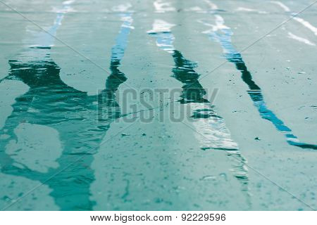 Wet Rain Stripes On A Green Ground, Abstract Background
