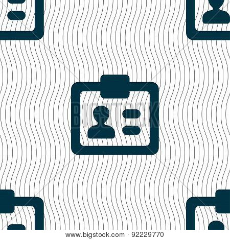 Id,  Identity Card Icon Sign. Seamless Pattern With Geometric Texture. Vector