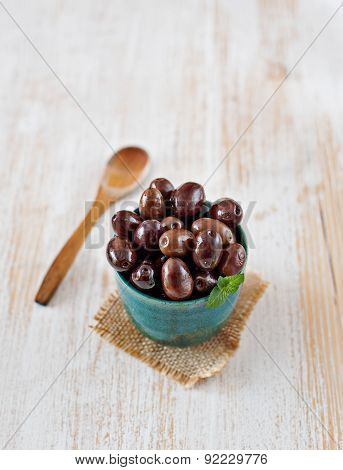 Fresh Mediterranean Olives In A Rustic Bowl. Typical Spanish Tapa.